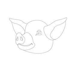 pig coloring vector illustration line drawing front