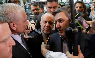 Iran's Oil Minister Zanganeh is surrounded by police and journalists as he arrives at his hotel in Vienna