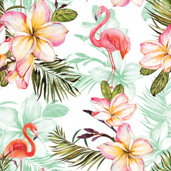 Beautiful flamingo and pink plumeria flowers on white background. Exotic tropical seamless pattern. Watecolor painting. Hand painted illustration.