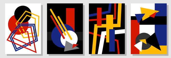 Set of abstract covers inspired by Bauhaus art.