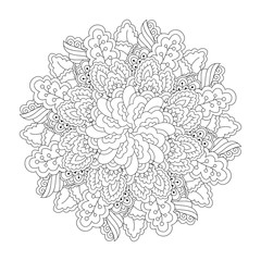 Round element for coloring book. Black and white floral pattern. Manda