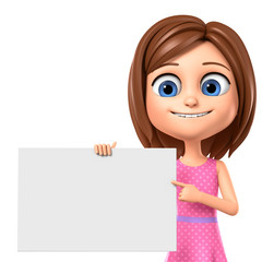 3d rendering. Cheerful girl in a pink dress points to an empty board.