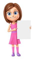 3d rendering. Cheerful girl in pink dress points a finger at an empty board on a white background.