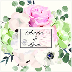 Floral wedding invitation card with rose,cotton,succulent,eucalypyus leaves in watercolor style. Botanical template with flowers for invite, greeting and covers, poligraphy