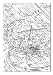 Jesus Christ calms the storm at sea