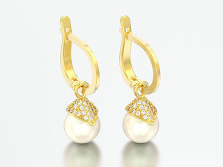 3D illustration yellow gold pearl diamond earrings with hinged lock
