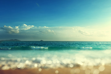 Sunset, Seychelles beach, tilt shift effect