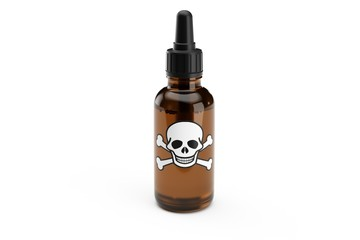 Brown medicine glass dropper bottle isolated with scull label