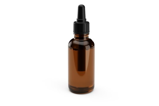 Brown medicine glass dropper bottle isolated