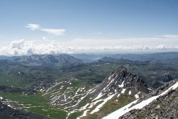 Penha Ubinha, Leon, Spain - June, 2018: Penha Ubinha is, with 2,417 meters of height, one of the highest mountains of the Cantabrian mountain range, and it is also, together with Picos del Fontan, the