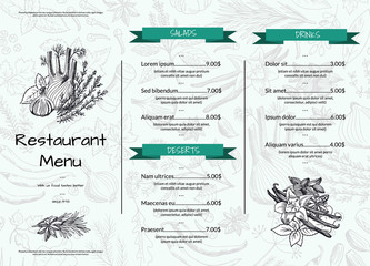 Vector horizontal restaurant or cafe menu template with hand drawn herbs and spices illustration