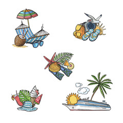 Vector hand drawn summer travel elements illustration