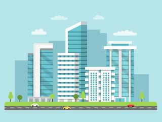 Background illustration of urban landscape with modern buildings