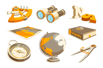 Vector monochrome symbols of exploration and geography