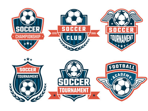 Different logos for football club. Vector labels set