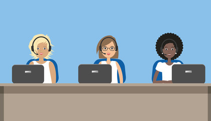 Web banner of call center workers. Young women in headphones sitting at the table on a blue background. Vector cartoon illustration.