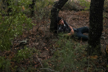 Illegal immigrant from Honduras lies injured after he is tracked by Border Patrol near Falfurrias, Texas