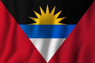 Antigua and Barbuda realistic waving flag vector illustration. National country background symbol. Independence day