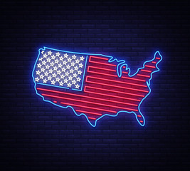 USA map and flag neon vector sign. USA map symbol banner light, bright night Illustration. Vector illustration