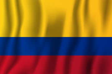 Colombia realistic waving flag vector illustration. National country background symbol. Independence day