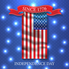 Fourth of July independence day USA. Vector patriotic background design. Invitation flyer celebrate illustration
