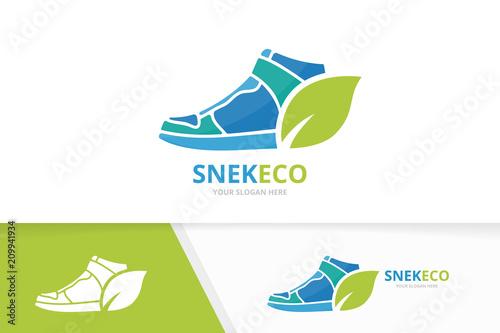 Vector Sneaker And Leaf Logo Combination Shoe Eco Symbol Or Icon Unique Footwear