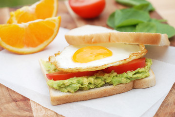 Health Snack Sandwitc Avocado Pasta Tomatoe Fried Egg Spicy Bread Breakfast
