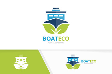 Vector ship and leaf logo combination. Boat and eco symbol or icon. Unique yacht and organic logotype design template.