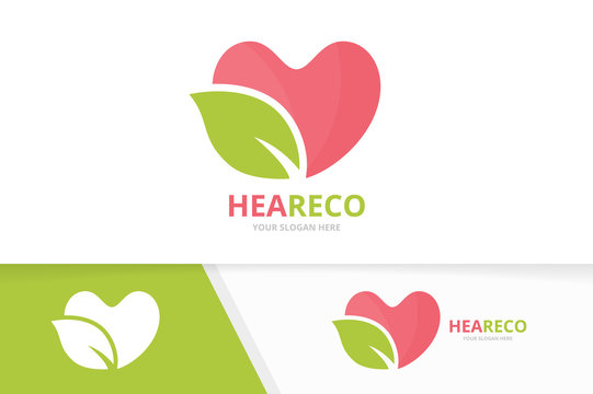 Vector heart and leaf logo combination. Love and eco symbol or icon. Unique romantic and organic logotype design template.
