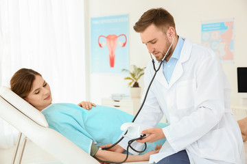 Gynecology consultation. Pregnant woman with her doctor in clinic