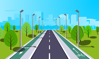 Straight empty road through the countryside with bike lane. Summer landscape vector illustration.