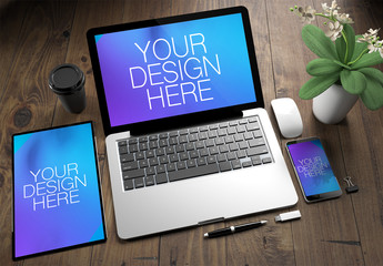 Top View of Devices on Wooden Desk Mockup