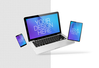 Floating Monitor, Tablet, and Smartphone Mockup