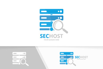 Vector host and loupe logo combination. Server and magnifying symbol or icon. Unique data and search logotype design template.