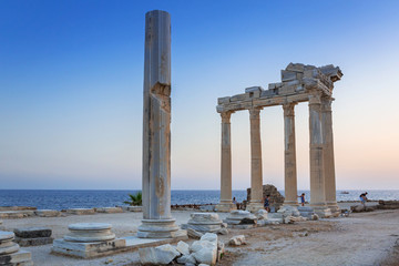 The Temple of Apollo in Side at sunset, Turkey