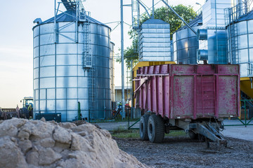 Agricultural equipment and granary close-up, Latvia