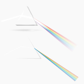 Spectrum prism picture. Transparent optical element, triangular prism dispersing a beam of white light, rainbow wavelengths