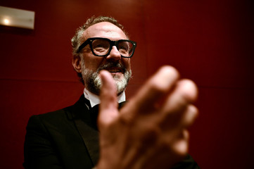 Massimo Bottura, the chef patron of Osteria Francescana restaurant in Italy, gestures after receiving the award for Best Restaurant during the World's 50 Best Restaurants Awards at the Palacio Euskalduna in Bilbao