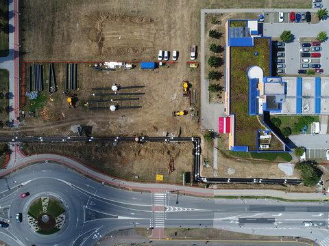 Aerial photo of a roadsite worksite in Karlovac, Croatia