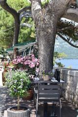 Sea viewing restaurant on the Korcula town promenade, Korcula, island, Croatia, June, 2018