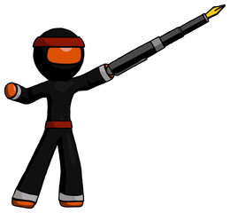 Orange Ninja Warrior Man pen is mightier than the sword calligraphy pose