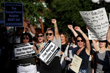 People protest against the Trump administration policy of separating immigrant families suspected of illegal entry in New York