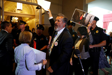 Rep. Juan Vargas and other Democratic members of Congress protest family separations at the U.S.-Mexico border, in Washington