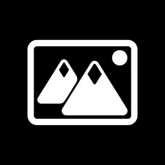 Picture with couple of mountains and sun. Simple icon. White ico