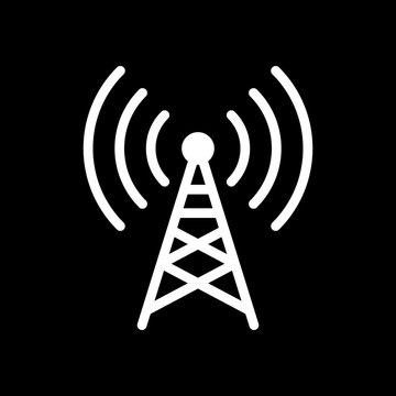 Radio tower icon. Linear style. White icon on black background.