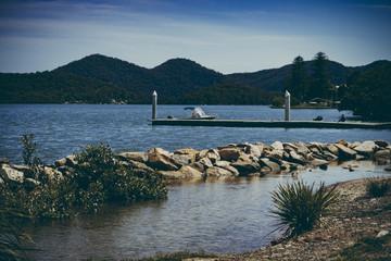 Jetty om Hawskesbury River, NSW, Australia