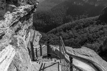 Staircase, Wenstworth Falls, Blue Muntains, NSW, Australia (Black and White)