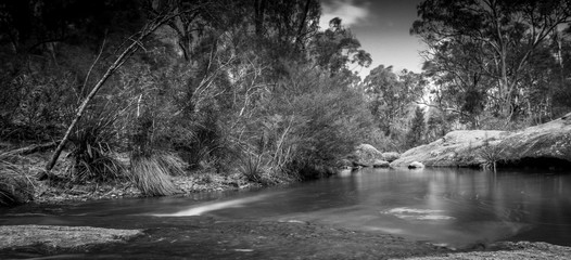 Black and White Neutral Density, Creek Bed with water like glass, Megalong Valley, Blue Mountains, NSW, Australia