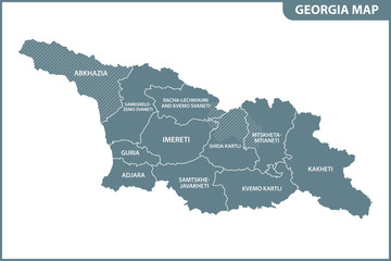 The detailed map of the Georgia with regions or states. Administrative division. South Ossetia and Abkhazia are marked as a disputed territory