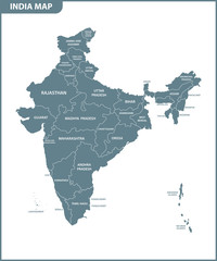 The detailed map of the India with regions or states. Administrative division.